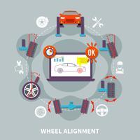 Concetto di design piatto allineamento ruote vettore