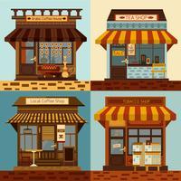 Set di facciate di negozi vettore