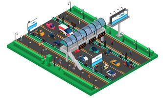 Modello isometrico di trasporto futuristico vettore