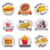 Set di etichette fast food vettore