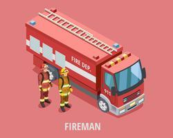 Modello isometrico pompiere di professione