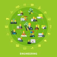 Composizione rotonda di icone di ingegneria