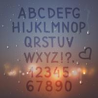 Alfabeto sulla composizione di vetro appannato