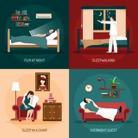 il sonno pone il concetto di design 2x2 vettore