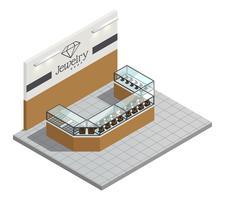 Interiore isometrico del negozio di gioielli