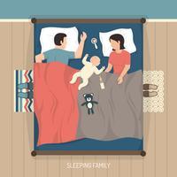 Famiglia addormentata con bambino allattamento vettore