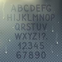 Composizione di alfabeto trasparente disegnato a mano