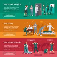 Set di banner di malattie psichiatriche vettore