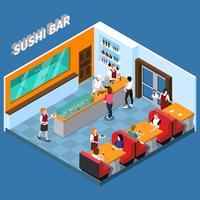 Illustrazione isometrica di Sushi Bar vettore