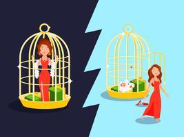 Concetto di gabbia dorata del matrimonio vettore