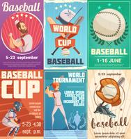 Set di poster di baseball in stile retrò
