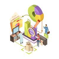 Illustrazione isometrica del centro informazioni