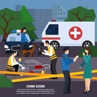Illustrazione di stile piano scena del crimine