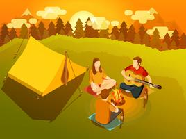 Amici che cantano intorno all'illustrazione isometrica del fuoco di accampamento