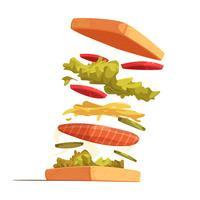 Composizione degli ingredienti del panino vettore