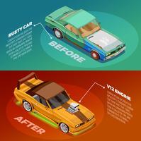 Car Tuning 2 Set di banner isometrici vettore