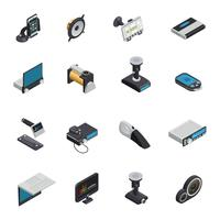 Icone isometriche di elettronica dell'automobile