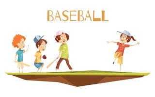 Bambini del fumetto che giocano l'illustrazione di vettore di baseball