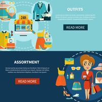 Set di banner assortimento di acquisti online vettore