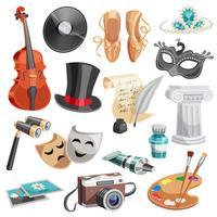Set di cultura e arti vettore