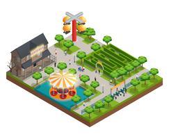 Concetto isometrico del parco di divertimenti e delle attrazioni