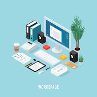 Composizione isometrica colorata dell'area di lavoro dell'ufficio
