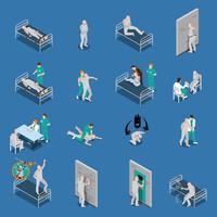 Set isometrico di pazienti mentali vettore