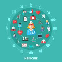 Composizione rotonda piatta della medicina vettore