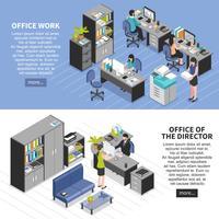 Set di banner di ambienti di lavoro di ufficio