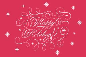 Lettering Happy Holidays White On Red vettore