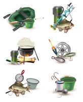 Set di icone di attrezzi da pesca 6 icone
