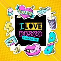 Moda Patch Cool Disco Composizione Poster vettore