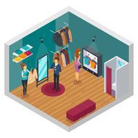 Concetto interno isometrico di prova del negozio