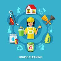 Composizione rotonda della casa di pulizia