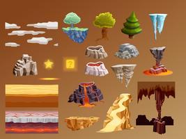 Insieme degli elementi del fumetto dei giochi di computer 3d vettore