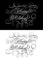 Due lettere monocromatiche che desiderano buone feste vettore