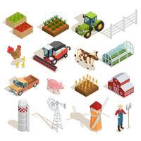 Collezione di icone isometriche di fattoria vettore