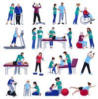 Raccolta piana delle icone della gente di riabilitazione di fisioterapia vettore
