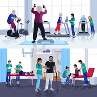 Centro di riabilitazione fisioterapica 2 banner piatti vettore