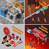Concetto isometrico del vigile del fuoco vettore