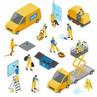 Set di icone di pulizia industriale isometrica vettore