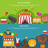 Banner orizzontale di intrattenimento di circo vettore