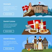 Set di bandiere piatte danesi punti di riferimento
