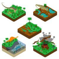 Composizioni isometriche di dinosauri vettore