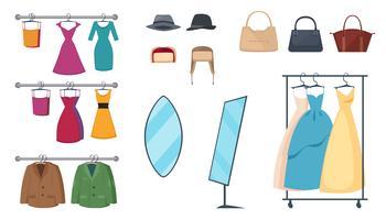 Set di icone del negozio di abbigliamento