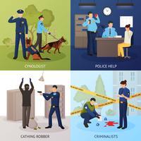 Quadrato piano delle icone di servizio di polizia 4