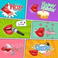 Pagina dei fumetti di Cartoon Lips vettore