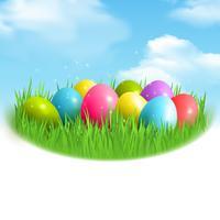 Composizione all'aperto di uova magiche