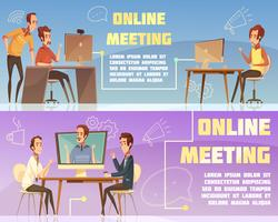 Set di banner per riunioni online vettore