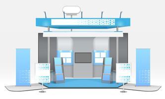 Composizione della cabina espositiva pubblicitaria realistica vettore